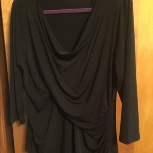 New York & Company Ruched Sides Black Top XL